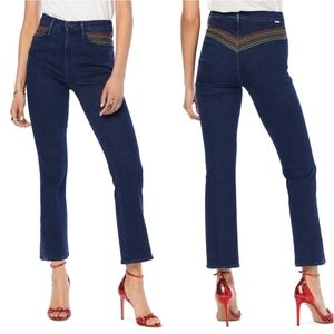 MOTHER Smooth Hustler crop flare jeans rainbow 32